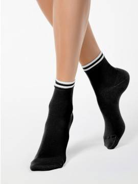 women's cotton socks CLASSIC (decorative elastic) 7С-32СП, размер 23, цвет white