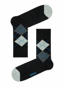 Men's socks HAPPY (with pattern) 15С-23СП, размер 25, цвет black-dark blue