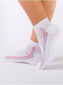 women's cotton socks ACTIVE (anklets, terry foot) 7С-41СП, размер 25, цвет white-light pink