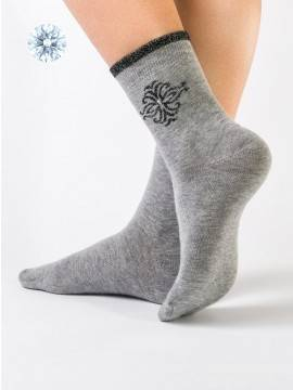 Women's cotton socks COMFORT (strasses, lurex) 12С-34СП, размер 23, цвет dark grey