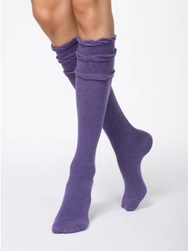 women's cotton knee-highs COMFORT (decorative elastic) 7С-58СП, размер 25, цвет violet