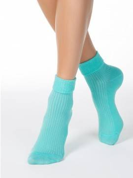 women's cotton socks CLASSIC (with lapel) 7С-35СП, размер 25, цвет black
