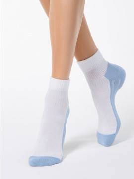 Women's cotton socks ACTIVE (terry foot) 7С-56СП, размер 23, цвет white-blue